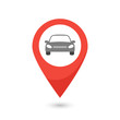 Red map pointer with car icon. Vector illustration