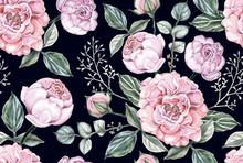 Seamless Pattern Pink Rose Flo...