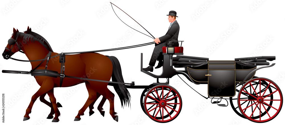 Fototapeta Fiacre carriage, horse drawn four-wheeled carriage for hire, Landau, Fiaker in Vienna realistic vector illustration