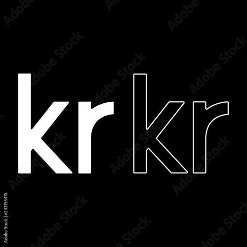 Fotografia, Obraz  Krone of Denmark Danish krone icon set white color illustration flat style simpl