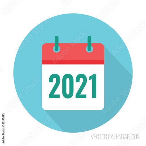Fotografia  2021 calendar icon flat color. New year vector sign
