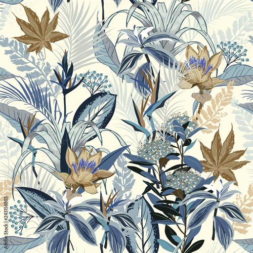 Tapety Vintage  monotonny-w-kolorze-niebieskim-letni-dziki-las-pelen-kwitnacych-kwiatow-w-roznego-rodzaju-kwiecistych-sezonowych-wektorach-bez-szwu-styl-rysowania-recznego-dla-mody-tkaniny-i-wszystkich-nadrukow