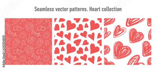 Fototapeten Künstlich Heart seamless pattern. Vector love illustration. Valentine's Day, Mother's Day, wedding, scrapbook, gift wrapping paper, textiles. Red background. Brush, pencil, chalk