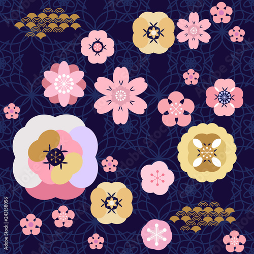 Poster Oiseaux, Abeilles Japanese pattern551