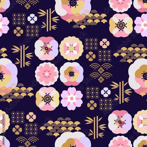 Poster Oiseaux, Abeilles Japanese pattern533