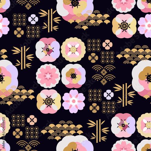 Poster Oiseaux, Abeilles Japanese pattern534