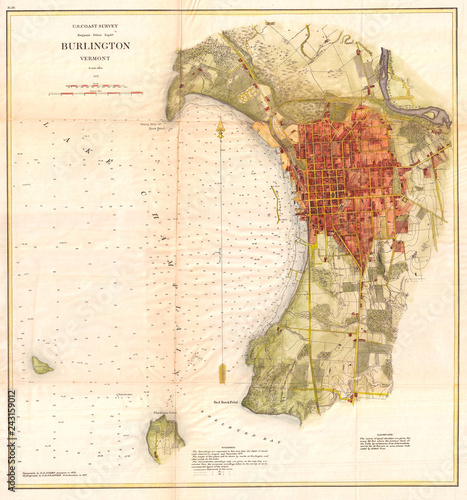 Old Map Of Burlington Vermont 1872 Us Coast Survey Buy This - Vermont-on-us-map