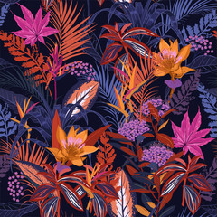 Fototapeta Las Colorful high contrast Summer night wild forest full of blooming flower in many kind of florals seasonal seamless pattern vector ,hand drawing style for fashion, fabric and all prints