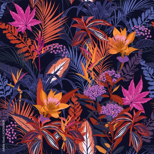 fototapeta na ścianę Colorful high contrast Summer night wild forest full of blooming flower in many kind of florals seasonal seamless pattern vector ,hand drawing style for fashion, fabric and all prints
