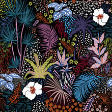 Beautiful Hand Sketch Seamless Tropical Dark Summer Forest Pattern With Colorful Palm Trees,leaves,exotic Wild And Plants Vector In Hand Drawn Style,