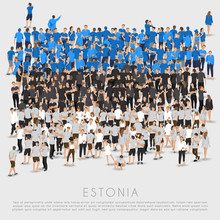 Crowd Of People In Shape Of Estonia Flag : Vector Illustration