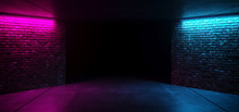 Modern Futuristic Sci Fi Retro Elegant Club Disco Party Neon GLowing Purple PInk Blue Grunge Bricks Concrete Room With Glowing Lights Empty Stage Background 3D Rendering