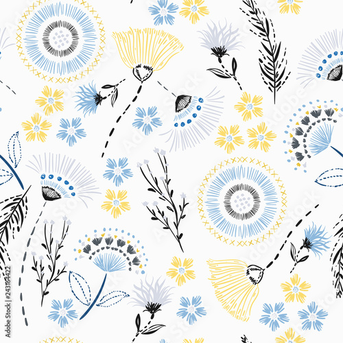 Foto auf Leinwand Künstlich Summer Seamless pattern Colorful hand drawing sketch garden flowers and line ,dash leaves in doodle style vector suits for fashion,fabric and all prints on white.