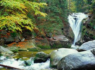 Szklarka waterfall (Wodospad Szklarki) near Szklarska Poreba, Karkonoski National Park, Karkonosze Mountains, Poland