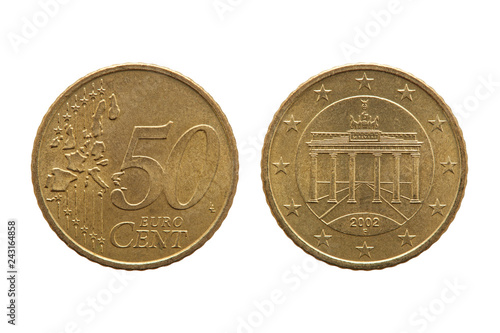Fotografia  Fifty cent euro coin of Germany dated 2002 showing the Brandenburg Gate on the r