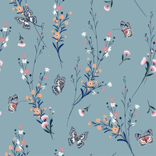 Beautiful Vintage Meadow Flowers Blowing In The Wind With Butterflies Soft And Gentle Seamless Pattern On Vector Design For Fashion,fabric,wallpaper And All Prints