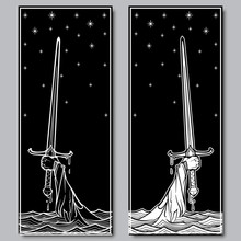 Hand Holding A Sword Emerges From The Water. Iconic Scene From The Medieval European Stories About King Arthur. Set Of Two Engraving Style Pictures . EPS10 Vector Illustration