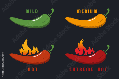 Photo  Chili Mild, Medium, Hot, Extreme Hot With Flame - Colorful Vector Illustration -