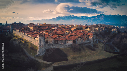 Ricetto of Candelo, Biella, Italy, aerial view at sunset Wallpaper Mural