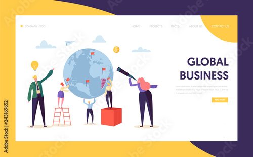 Fototapeta Global Business Search Opportunity Character Landing Page. Corporate Businessman Work at Earth Globe with Ladder. Worldwide Vision Concept for Website or Web Page Flat Cartoon Vector Illustration obraz