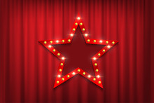 Red Star Sign With Light Bulbs Against Theatre Red Curtains. Vector Design Template.