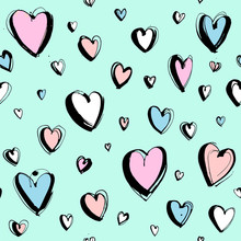 Decorative Hand Drawn Happy Valentine's Day Seamless Hearts Pattern Background
