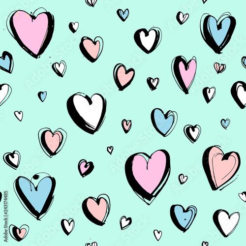 Fototapeten Künstlich Decorative hand drawn Happy Valentine's day seamless hearts pattern background