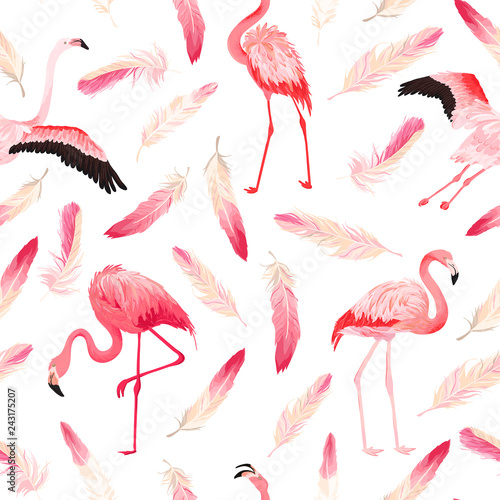 Canvas Prints Flamingo Bird Tropical Flamingo seamless vector summer pattern with pink feathers. Exotic Pink Bird background for wallpapers, web page, texture, textile. Animal Wildlife Design