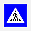 canvas print picture - road sign the crosswalk, walking man