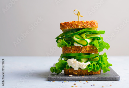 Sandwich with Avocado, Cucumber and Cream Cheese, Healthy Snack