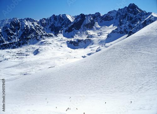 Photo  view from Kasprowy Wierch to Gasienicowa valley, Swinica peak, Zawrat peak and O