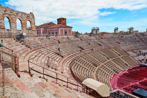 Keuken foto achterwand Theater Inside of Arena of Verona in Italy / Red seats under blue sky in the theater