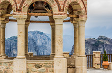 European Medieval Building Landmark  Gazebo And Observation Deck Object In Highland Monastery Yard With Picturesque Mountain Background Landscape View