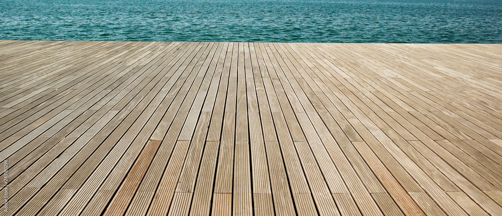 Fototapeta simple panoramic background wallpaper pattern of wooden deck floor sea waterfront perspective foreshortening material surface with empty copy space for your text or inscription  - obraz na płótnie