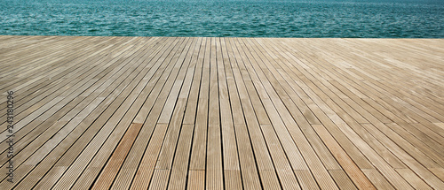 Fototapeta simple panoramic background wallpaper pattern of wooden deck floor sea waterfront perspective foreshortening material surface with empty copy space for your text or inscription  obraz na płótnie