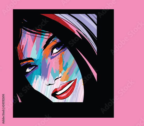 Spoed Foto op Canvas Art Studio portrait of a woman face
