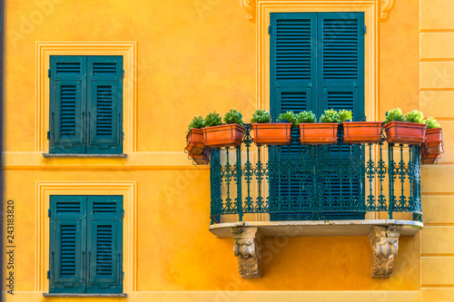 Canvas Prints Liguria Famous italian coastal city Portofino with colorful close up balconies in Italy, Liguria sea coast