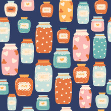 Seamless Pattern With Hand Drawn Jam Jar. Cute Textile Print. Vector Illustration.