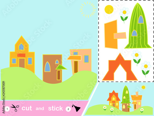 Poster de jardin Route Educational paper game for children houses in the summer. Use scissors and glue to create an image.