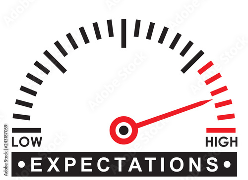 Obraz na plátně high expectations - monitoring  scale -   illustration template