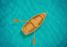 Sea Water And Wooden Boat. Ocean Surface With Wave. Sailing