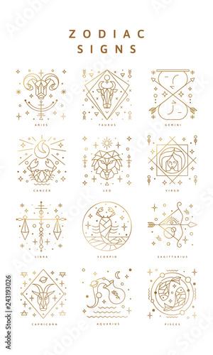 Fotografija Set of zodiac signs, Icons, and Symbols