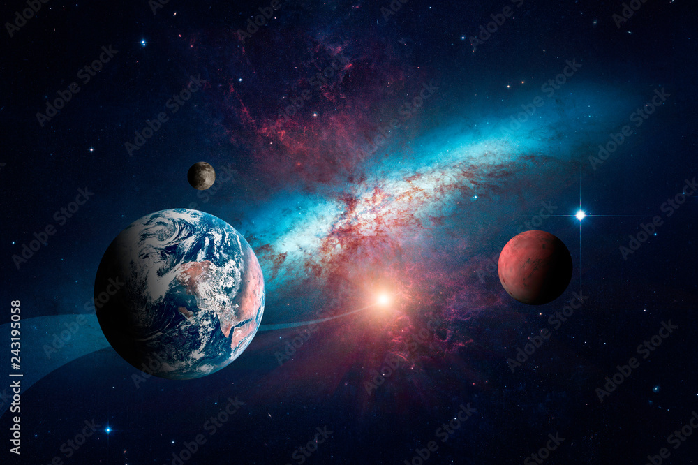 Fototapety, obrazy: Planets of the solar system against the background of a spiral galaxy in space. Elements of this image furnished by NASA.