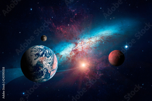 Tuinposter Heelal Planets of the solar system against the background of a spiral galaxy in space. Elements of this image furnished by NASA.
