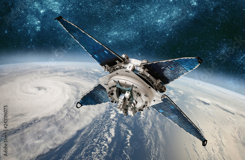 Poster Helicopter Space satellite monitoring from earth orbit weather from space, hurricane, Typhoon on planet earth.