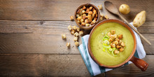 Leek And Potato Soup With Croutons. Top View, Space For Text