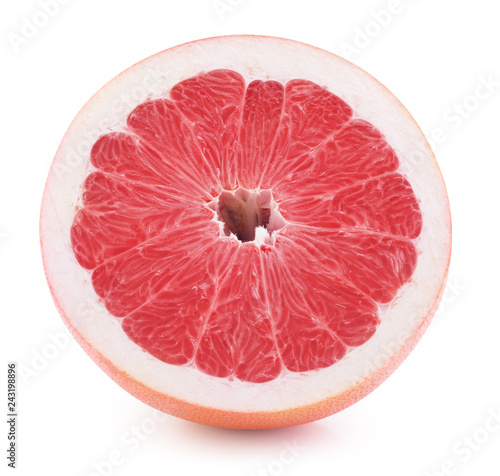 Fotografía  half of grapefruit slice isolated on a white background