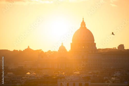 obraz lub plakat Skyline Rome Peter Basilica sunset