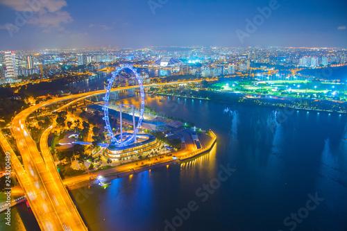 Fotografía  illuminated Singapore metropolis at night
