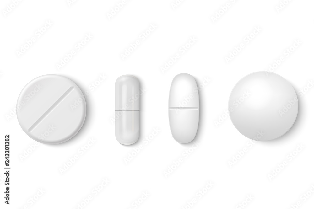 Fototapeta Vector 3d Realistic White Medical Pill Icon Set Closeup Isolated on White Background. Design template of Pills, Capsules for graphics, Mockup. Medical and Healthcare Concept. Top View